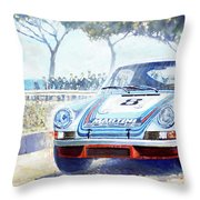 1973 Targa Floria Porsche 911 Carrera Rsr Martini Racing Lennep Muller Winner  Throw Pillow