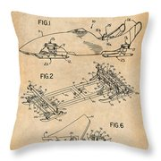 1982 Bobsled Antique Paper Patent Print  Throw Pillow