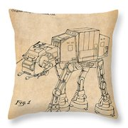 1982 Star Wars At-at Imperial Walker Antique Paper Patent Print Throw Pillow