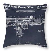 1982 Uzi Submachine Gun Blackboard Patent Print Throw Pillow