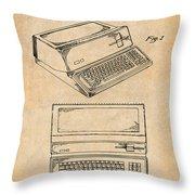 1983 Steve Jobs Apple Personal Computer Antique Paper Patent Print Throw Pillow