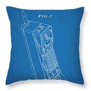 1988 Motorola Cell Phone Blueprint Patent Print Throw Pillow