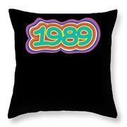 1989 Vintage Grafitti Style Word Art Classic Art Throw Pillow