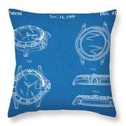 1999 Rolex Diving Watch Patent Print Blueprint Throw Pillow