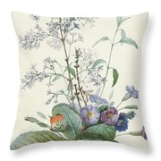 A Bouquet Of Flowers With Insects  Throw Pillow