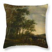 A Landscape With A Carriage And Horsemen At A Pool  Throw Pillow