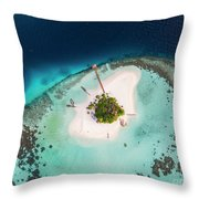 Aerial Drone View Of A Tropical Island, Maldives Throw Pillow