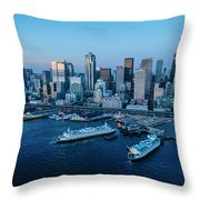 Aerial View Of A City, Seattle, King Throw Pillow