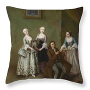 An Interior With Three Women And A Seated Man  Throw Pillow