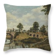 An Old Bridge At Hendon  Middlesex  Throw Pillow