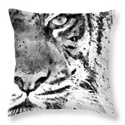 Black And White Half Faced Tiger Throw Pillow