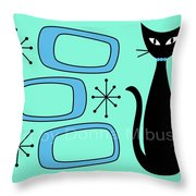 Cat With Mid Century Modern Oblongs Throw Pillow by Donna Mibus