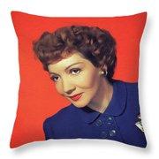 Claudette Colbert, Vintage Movie Star Throw Pillow