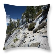 Cyclist On Mountain Road, Lake Tahoe Throw Pillow