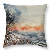 Digital Watercolor Painting Of Beautiful Winter Landscape At Vib Throw Pillow