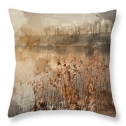 Digital Watercolor Painting Of Landscape Of Lake In Mist With Su Throw Pillow