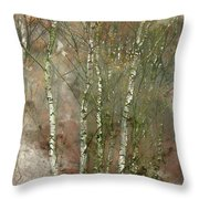 Digital Watercolor Painting Of Stunning Colorful Autumn Fall Lan Throw Pillow