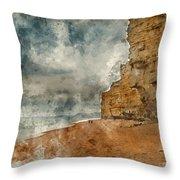 Digital Watercolour Painting Of Beautiful Vibrant Sunset Landsca Throw Pillow