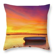 Fishing Boat At Sunset Time Throw Pillow