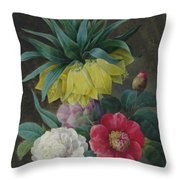 Four Peonies And A Crown Imperial  Throw Pillow