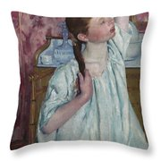 Girl Arranging Her Hair   Throw Pillow