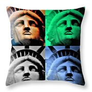 Lady Liberty In Quad Colors Throw Pillow