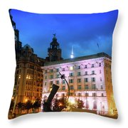 Liverpool's Historic Waterfront Throw Pillow