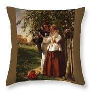 Lovers Under A Blossom Tree Throw Pillow