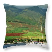 Maui Sunset Sail Throw Pillow