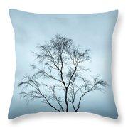 Moody Winter Landscape Image Of Skeletal Trees In Peak District  Throw Pillow