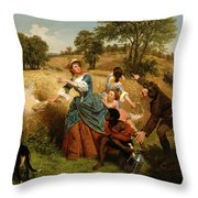 Mrs  Schuyler Burning Her Wheat Fields On The Approach Of The British  Throw Pillow