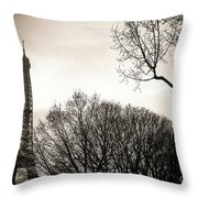 Paris  Eiffel Tower At Sunset Throw Pillow