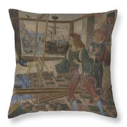 Penelope With The Suitors  Throw Pillow