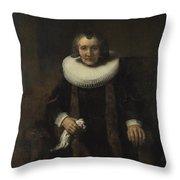 Portrait Of Margaretha De Geer  Wife Of Jacob Trip  Throw Pillow