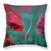 Red Corn Poppy Flowers Throw Pillow