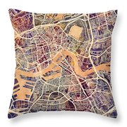 Rotterdam Netherlands City Map Throw Pillow