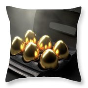Six Golden Eggs In An Egg Carton Throw Pillow