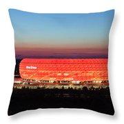 Soccer Stadium Lit Up At Dusk, Allianz Throw Pillow