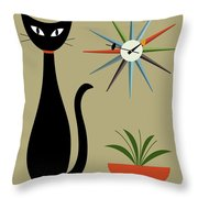Tabletop Cat With Starburst Clock Throw Pillow by Donna Mibus
