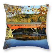 Taftsville Covered Bridge Throw Pillow by Jeff Folger