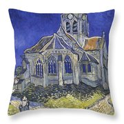 The Church In Auvers Sur Oise  View From The Chevet  Throw Pillow
