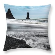 The Dramatic Black Sand Beach Of Reynisfjara. Throw Pillow