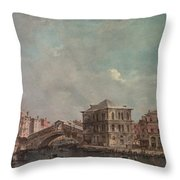 The Grand Canal Above The Rialto  Throw Pillow