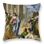The Miracle Of Christ Healing The Blind  Throw Pillow