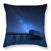 Vibrant Milky Way Composite Image Over Landscape Of Long Exposur Throw Pillow