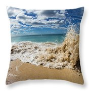 View Of Surf On The Beach, Hawaii, Usa Throw Pillow