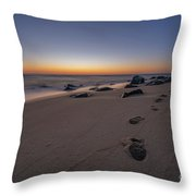 Walk Along The Beach  Throw Pillow
