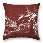 2018 Kawasaki Versys 1000 Lt Abs Blueprint Old Vintage Red Background Original Artwork Throw Pillow