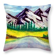 2019#01_mountain Lake Throw Pillow