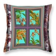 Antique Orchids Quatro On Rusted Metal And Weathered Wood Plank Throw Pillow